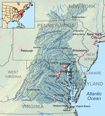 Map showing the Chesapeake Bay Watershed (https://en.wikipedia.org/wiki/Chesapeake_Bay)
